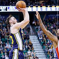 25 January 2016: Utah Jazz forward Gordon Hayward (20) takes a jump shot over Detroit Pistons forward Marcus Morris (13) during the Detroit Pistons 95-92 victory over the Utah Jazz, at the Vivint Smart Home Arena, Salt Lake City, Utah, USA.