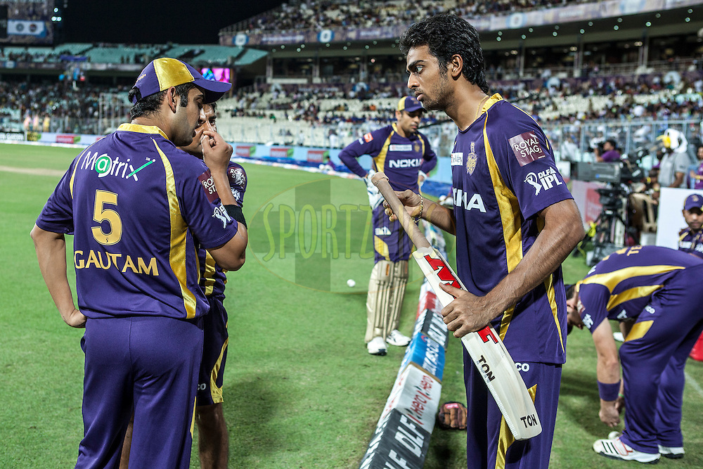 Discussion during match 15 of the the Indian Premier League ( IPL) 2012  between The Kolkata Knight Riders and The Rajasthan Royals held at the Eden Gardens Stadium in Kolkata on the 13th April 2012..Photo by Saikat Das/IPL/SPORTZPICS