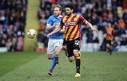 Craig Mackail-Smith of Peterborough United battles with Nat Knight-Percival of Bradford City - Mandatory by-line: Joe Dent/JMP - 04/03/2017 - FOOTBALL - Coral Windows Stadium - Bradford, England - Bradford City v Peterborough United - Sky Bet League One