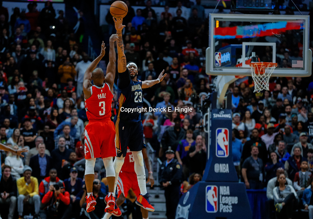 Jan 26, 2018; New Orleans, LA, USA; New Orleans Pelicans forward Anthony Davis (23) defends as Houston Rockets guard Chris Paul (3) shoots during the fourth quarter at the Smoothie King Center. Pelicans defeated the Rockets 115-113. Mandatory Credit: Derick E. Hingle-USA TODAY Sports