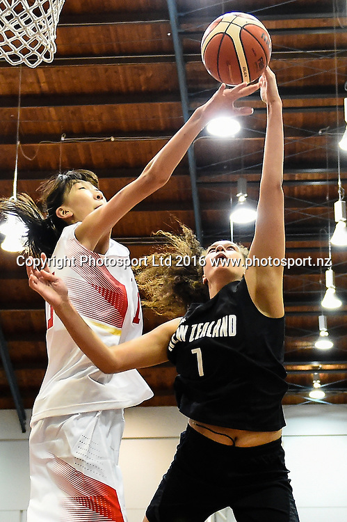 Charlisse Leger-Walker of the Junior Tall Ferns shoots from Xu Han of China during the Internation Basketball match, Game 2, Junior Tall Ferns V China, Cowles Stadium, Christchurch, New Zealand. 8th Sept 2016. Copyright Photo: John Davidson / www.photosport.nz