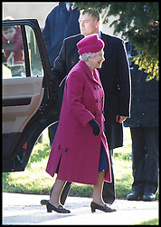 HM The Queen and The Duke of Edinburgh attends a church service on the Sandringham estate in Norfolk, United Kingdom. Sunday, 22nd December 2013. The Royal Family will spend Christmas at Sandringham. Picture by Andrew Parsons / i-Images