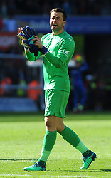 An emotional Lukasz Fabianski of Swansea City thanks fans at the full time whistle- Mandatory by-line: Nizaam Jones/JMP- 13/05/2018 - FOOTBALL - Liberty Stadium - Swansea, Wales - Swansea City v Stoke City - Premier League