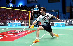 Alex Lane of Bristol Jets hits a backhanded shot - Photo mandatory by-line: Robbie Stephenson/JMP - 07/11/2016 - BADMINTON - University of Derby - Derby, England - Team Derby v Bristol Jets - AJ Bell National Badminton League