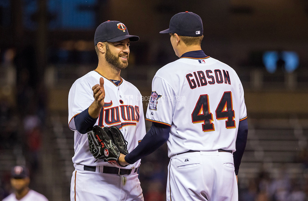 MINNEAPOLIS, MN- MAY 01: Joe Mauer #7 of the Minnesota Twins smiles with Kyle Gibson #44 against the Chicago White Sox on May 1, 2015 at Target Field in Minneapolis, Minnesota. The Twins defeated the White Sox 1-0. (Photo by Brace Hemmelgarn) *** Local Caption *** Joe Mauer;Kyle Gibson
