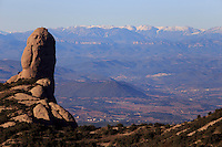 Jagged rocks of the Montserrat mountain range on the outskirts of Barcelona, Spain