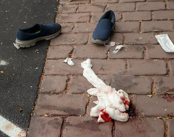 March 15, 2019 - Christchurch, Canterbury, New Zealand - Bloodied bandages following a shooting resulting in multiple fatalities and injuries at the Masjid Al Noor Mosque, Deans Avenue, Christchurch, New Zealand. At least 49 people were killed and 20 seriously injured in mass shootings at two mosques in the New Zealand city of Christchurch. 48 people, including young children with gunshot wounds, were taken to hospital. Three people were arrested in connection with the shootings. (Credit Image: © Martin Hunter/SNPA via ZUMA Wire)