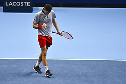 November 15, 2018 - London, United Kingdom - Dominic Thiem of Austria reacts during his round robin match against Kei Nishikori of Japan during Day Five of the Nitto ATP Finals at The O2 Arena on November 15, 2018 in London, England. (Credit Image: © Alberto Pezzali/NurPhoto via ZUMA Press)
