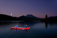 (m) Canoe on Sparks Lake with Mount Bachelor, Moonlight Night Bend, Cascade Mountain Range, Central Oregon, Oregon, USA