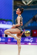Vladinova Neviana during final at ball in Pesaro World Cup at Adriatic Arena on April 15, 2018. Neviana was born on February 23,1994 in Pleven, Bulgaria. Her dream is to win a medal at the 2020 Olympic Games in Tokyo.