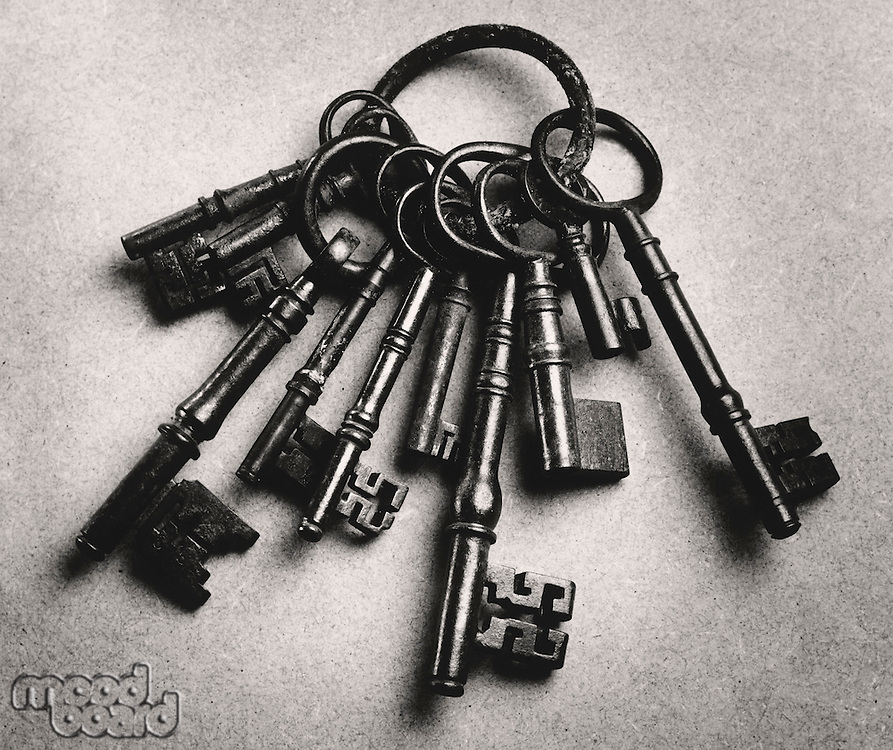 Set of antique keys (b&w)
