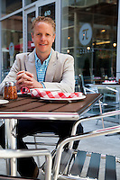Chris Sommers, co-owner of Pi, a chain of pizza restaurants in St. Louis, MO, photographed at a new location in the Mercantile Exchange development downtown.