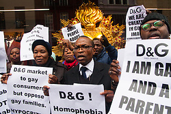 "Mayfair, London, March 19th 2015. Police are called as gay rights campaigners from the Out and Proud Diamond Group, made up of exiled Ugandan and other African gays and their supporters,   demonstrate outside the D&G store in London's Bond Street, following Remarks made by the brand's owners about IVF babies being ""synthetic""."