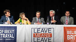 "© Licensed to London News Pictures . 22/09/2018. Bolton, UK. RICHARD TICE , KATE HOEY , NIGEL FARAGE , DAVID DAVIS and CHRIS GREEN . Pro Brexit campaign group Leave Means Leave host a "" Save Brexit "" and "" Chuck Chequers "" rally at the University of Bolton Stadium , attended by leave-supporting politicians from a cross section of parties , including Conservative David Davis , former UKIP leader Nigel Farage and Labour's Kate Hoey . Photo credit: Joel Goodman/LNP"