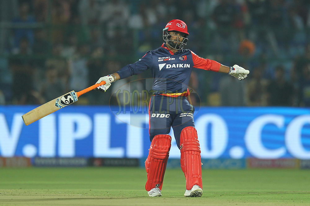 Rishab Pant of the Delhi Daredevils reacts during match six of the Vivo Indian Premier League 2018 (IPL 2018) between the Rajasthan Royals and the Delhi Daredevils held at the The Sawai Mansingh Stadium in Jaipur on the 11th April 2018.<br /> <br /> Photo by: Deepak Malik / IPL/ SPORTZPICS