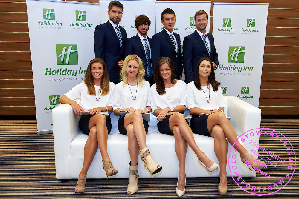 (L-R) Alicja Rosolska and Urszula Radwanska and Agnieszka Radwanska and Klaudia Jans Ignacik and trainer coach Tomasz Wiktorowski and Krzysztof Guzowski and Dawid Celt during official dinner two days before the Fed Cup / World Group 1st round tennis match between Poland and Russia at Holiday Inn on February 5, 2015 in Cracow, Poland.<br /> <br /> Poland, Cracow, February 5, 2015<br /> <br /> Picture also available in RAW (NEF) or TIFF format on special request.<br /> <br /> For editorial use only. Any commercial or promotional use requires permission.<br /> <br /> Adam Nurkiewicz declares that he has no rights to the image of people at the photographs of his authorship.<br /> <br /> Mandatory credit:<br /> Photo by &copy; Adam Nurkiewicz / Mediasport
