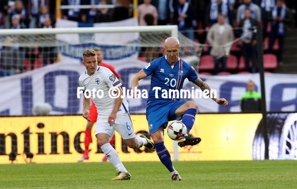 2.9.2017, Ratina Stadion, Tampere, Finland.<br /> FIFA World Cup 2018 Qualifying match, Finland v Iceland.<br /> Emil Hallfredsson (Iceland) v Alexander Ring (Finland).