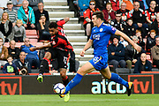 Joshua King (17) of AFC Bournemouth crosses the ball past Harry Maguire (15) of Leicester City during the Premier League match between Bournemouth and Leicester City at the Vitality Stadium, Bournemouth, England on 30 September 2017. Photo by Graham Hunt.