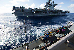 180806-N-LJ375-1190 ATLANTIC OCEAN (Aug. 6, 2018) The Arleigh Burke-class guided-missile destroyer USS Mason (DDG 87) performs an underway replenishment with the Nimitz-class aircraft carrier USS Abraham Lincoln (CVN 72). (U.S. Navy photo by Mass Communication Specialist 2nd Class Jacques-Laurent Jean-Gilles/Released)