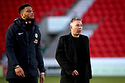 Peterborough Manager Darren Ferguson and Peterborough Utd goalkeeper Aaron Chapman (1) leave the field after the EFL Sky Bet League 1 match between Doncaster Rovers and Peterborough United at the Keepmoat Stadium, Doncaster, England on 9 February 2019.