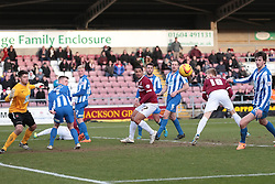 Northampton Town's Alan Connell heads wide - Photo mandatory by-line: Nigel Pitts-Drake/JMP - Tel: Mobile: 07966 386802 - 22/02/2014 - SPORT - FOOTBALL - Sixfields Stadium - Northampton - Northampton Town v Hartlepool United - Sky Bet League Two