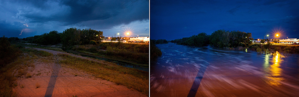 Over night, floodwater filled the South Platte River, which had been dry 11 hours earlier, under the Highways 61 and 26 bridge in Ogallala, Neb., in the early hours of Thursday, Sept. 19, 2013.