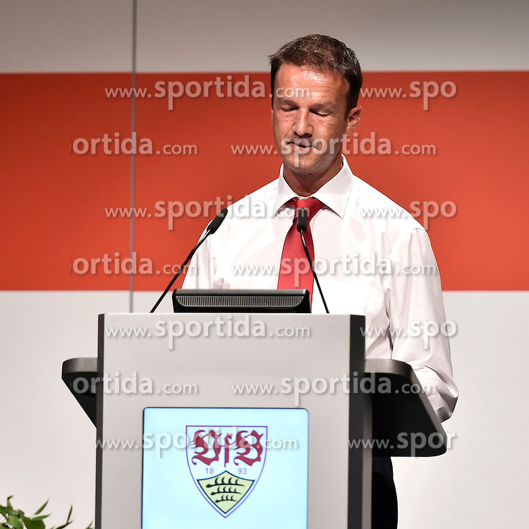 28.07.2014, Stuttgart, GER, 1. FBL, VfB Stuttgart Mitgliederversammlung, im Bild sichtlich geknickter Sportdirektor Vorstand Sport Sportlicher Leiter Fredi Bobic VfB Stuttgart in der Kritik // during a members assembly of the german Bundesliga Club VfB Stuttgart at the Stuttgart, Germany on 2014/07/28. EXPA Pictures &copy; 2014, PhotoCredit: EXPA/ Eibner-Pressefoto/ Weber<br /> <br /> *****ATTENTION - OUT of GER*****