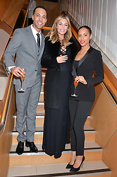 Left to right, MARVIN HUMES, ABBEY CLANCY and ROCHELLE HUMES at the #PandoraWishes Campaign Launch Event, Pandora Marble Arch flagship store, London on 12th November 2014.
