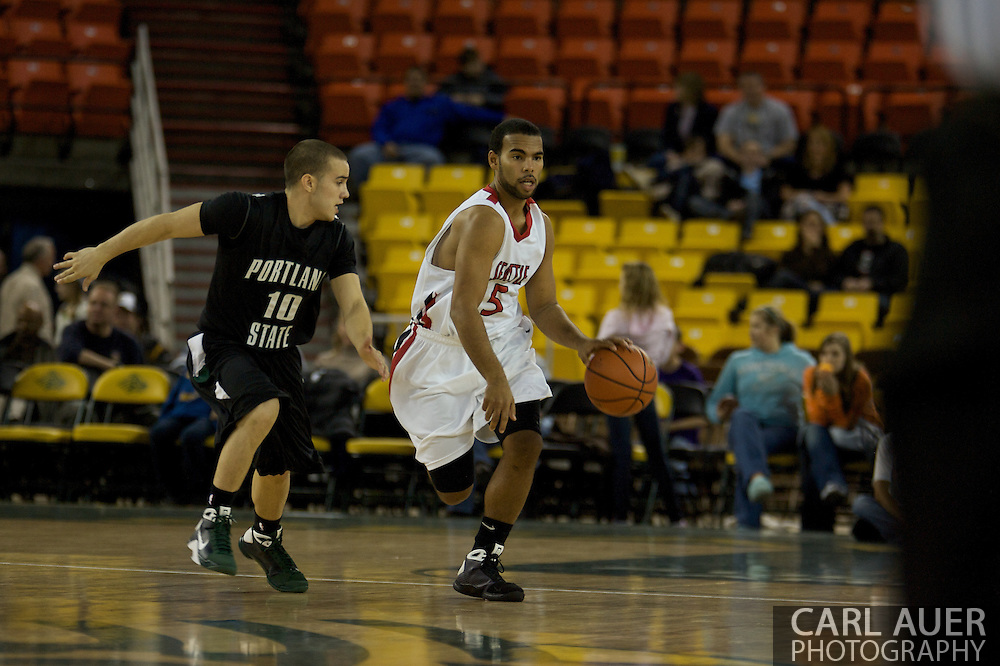 November 29th, 2008:  Anchorage, Alaska - Portland State's Jeremiah Dominguez (10) on defense as Seattle University's Shaun Burl (5) dribbles up court in the third place matchup on the final day of the Great Alaska Shootout.