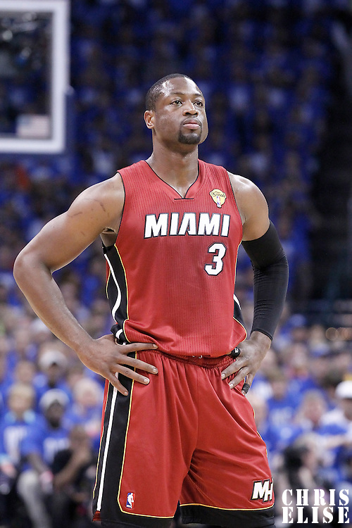 12 June 2012: Miami Heat shooting guard Dwyane Wade (3) rests during the first quarter of Game 1 of the 2012 NBA Finals between the Heat and the Thunder, at the Chesapeake Energy Arena, Oklahoma City, Oklahoma, USA.