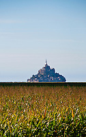 A glowing Mont St. Michel as seen across the sunny cornfields of Normandy.