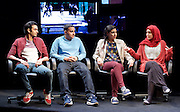 Another World <br /> Losing Our Children To Islamic State <br /> directed by Nicholas Kent <br /> at Temporary Theatre, National Theatre, Southbank, London, Great Britain<br /> Press photocall <br /> 14th April 2016 <br /> <br /> <br /> Zara Azam / Lara Sawalha / Ronak Patani / Fashid Rokey <br /> as students <br /> <br /> <br /> <br /> Photograph by Elliott Franks <br /> Image licensed to Elliott Franks Photography Services