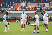 Timothy Fosu-Mensah Midfielder of Manchester United Zlatan Ibrahimovic Forward of Manchester United Memphis Depay Midfielder of Manchester United and Marouane Fellaini Midfielder of Manchester United in warm up during the Europa League Group Stage match between Feyenoord and Manchester United at De Kuip, Rotterdam, Holland on 15 September 2016. Photo by Phil Duncan.