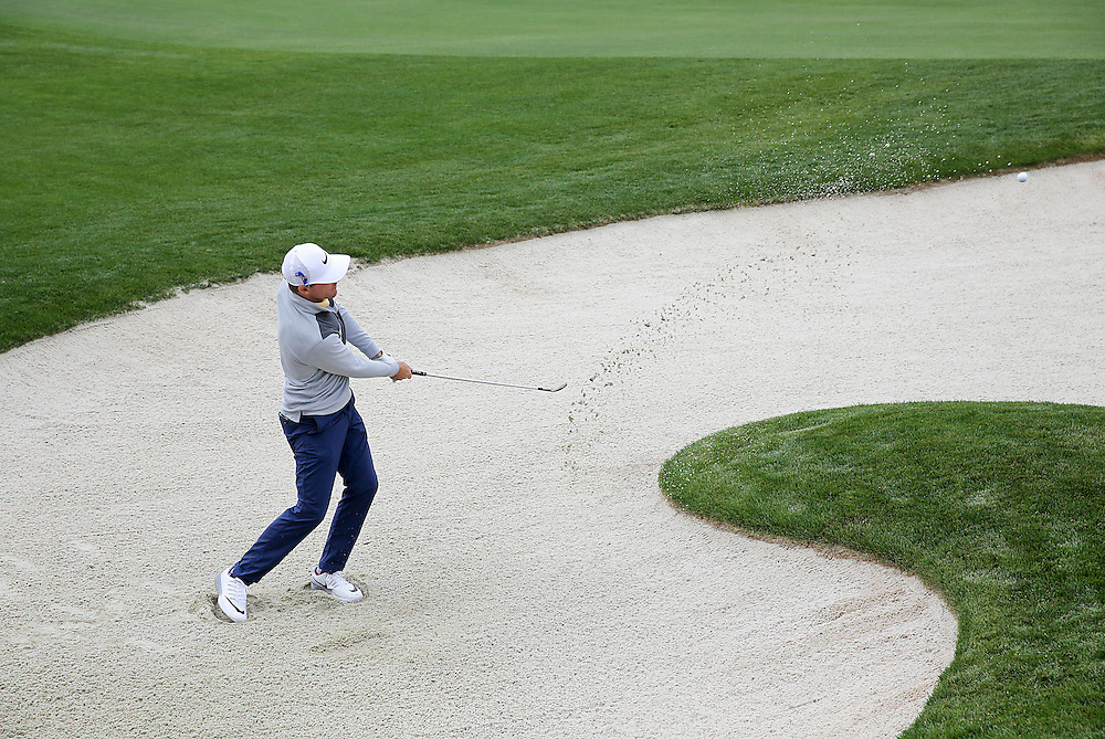 Gary Woodland chips out of the bunker on the 17th during the second round of the Shell Houston Open golf tournament at the Golf Club of Houston on , Friday, April 1, 2016, in Humble, Texas.  (Photo: Thomas B. Shea/For the Chronicle)