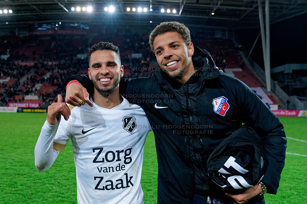 Adam Maher #6 of FC Utrecht and Justin Lonwijk #18 of FC Utrecht celebrate after the semi final KNVB Cup between FC Utrecht and Ajax Amsterdam at Stadion Nieuw Galgenwaard on March 04, 2020 in Amsterdam, Netherlands