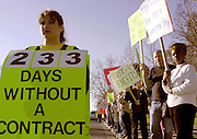 Union City, Ca. - 2/18/03 - Jennifer Galusha, a first-grade teacher at Union City's Delaine Eastin Elementary School and New Haven Teacher's Association executive board member, rallies on Alvarado-Niles Road for a new contract. Teachers, who have been without a contract since June and have been staging regular protests outside the school district office for months, are asking for a 4 percent raise and for the district to cover increases in their health care costs.