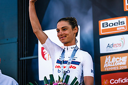 Podium with 2nd MOOLMAN Ashleigh of Cervélo-Bigla Pro Cycling after the 2018 La Flèche Wallonne Fèminine race, Huy, Belgium, 18 April 2018, Photo by Thomas van Bracht / PelotonPhotos.com | All photos usage must carry mandatory copyright credit (Peloton Photos | Thomas van Bracht)