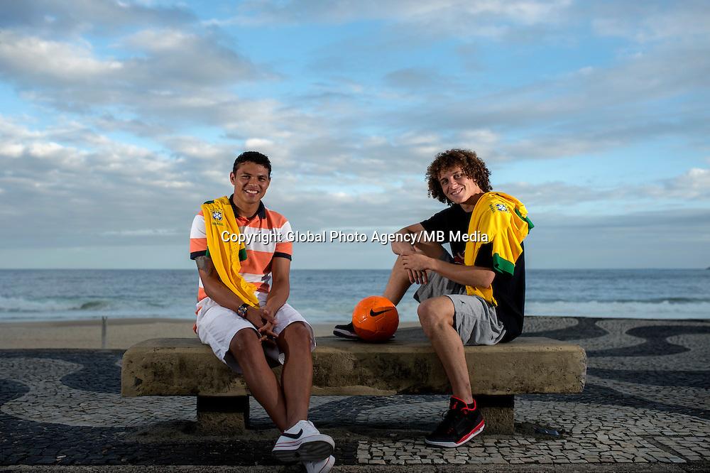 Fifa Brazil 2013 Confederation Cup / <br /> Brazil National Team - ( Sao Conrado Beach - Rio de Janeiro , Brazil ) -<br /> Thiago Silva (Left ) and David Luiz (Right) player of Brazil - Interview