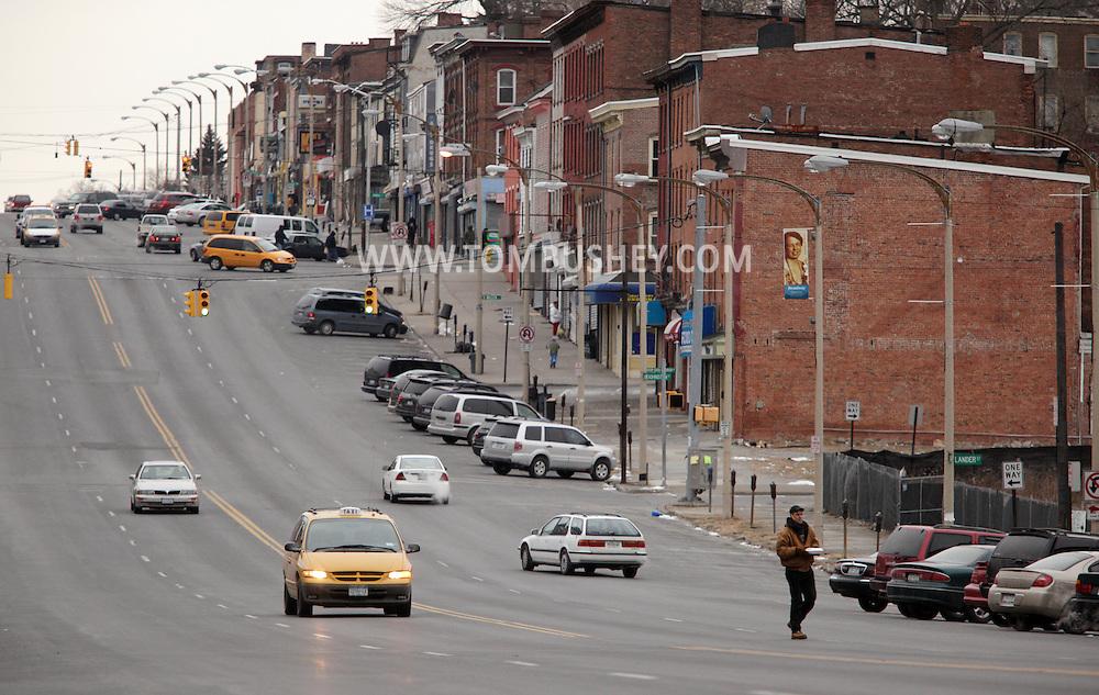 Newburgh, NY - A man crosses Broadway on Jan. 30, 2010.