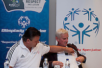 (L) Famous former Polish soccer player Roman Kosecki & (R) Michal Listkiewicz while Press Conference of Special Olympics at Novotel Hotel in Warsaw before the UEFA EURO 2012 Quarterfinal football match between Portugal and Czech Republic at National Stadium in Warsaw on June 21, 2012...Poland, Warsaw, June 21, 2012..Picture also available in RAW (NEF) or TIFF format on special request...For editorial use only. Any commercial or promotional use requires permission...Photo by © Adam Nurkiewicz / Mediasport