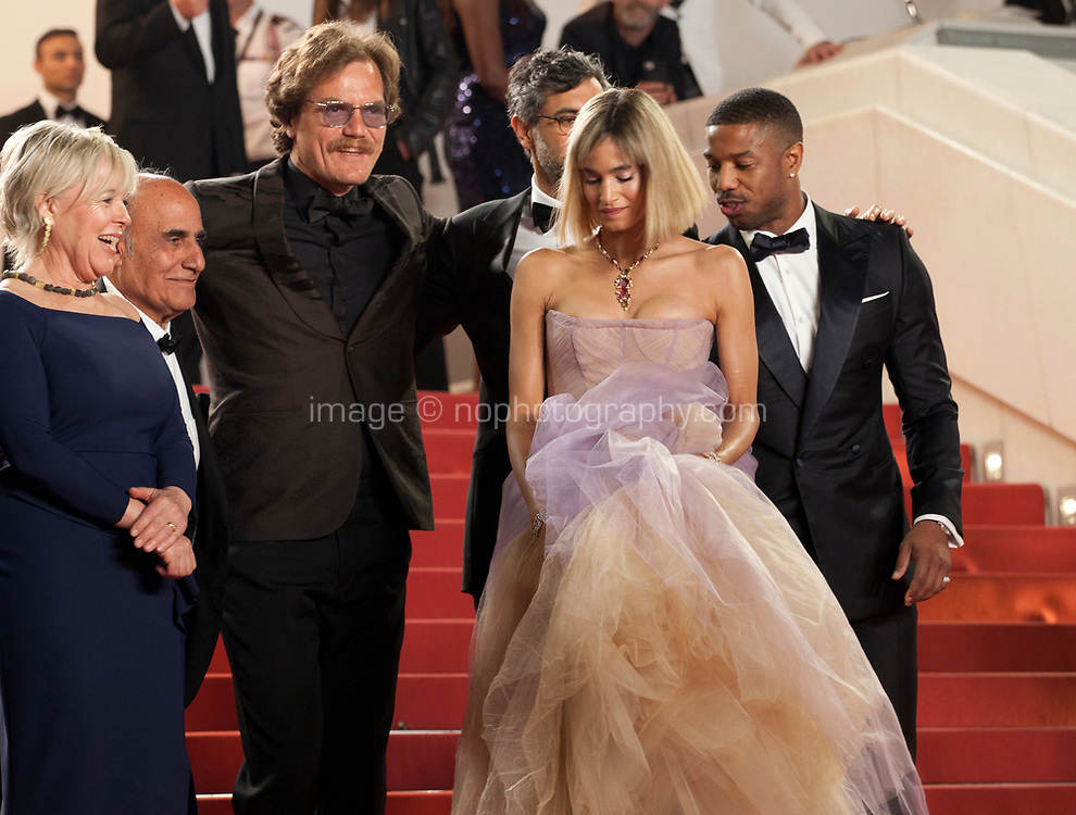 Producer Sarah Green, writer Amir Naderi, actress Sofia Boutella, actor Michael Shannon, director Ramin Brahani, actor Michael B. Jordan at the Farenheit 451 gala screening at the 71st Cannes Film Festival, Saturday 12th May 2018, Cannes, France. Photo credit: Doreen Kennedy