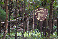 Roadside sign warning Tigers are found in the area, Huai Kha Khaeng Wildlife Sanctuary, Thailand