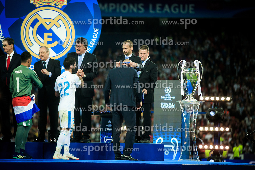 Zinédine Zidane, head coach of Real Madrid receives from Aleksander Ceferin, UEFA president his medal after the UEFA Champions League final between Real Madrid and Liverpool at NSC Olimpiyskiy Stadium on May 26, 2018 in Kiev, Ukraine. Photo by Sandi Fiser / Sportida