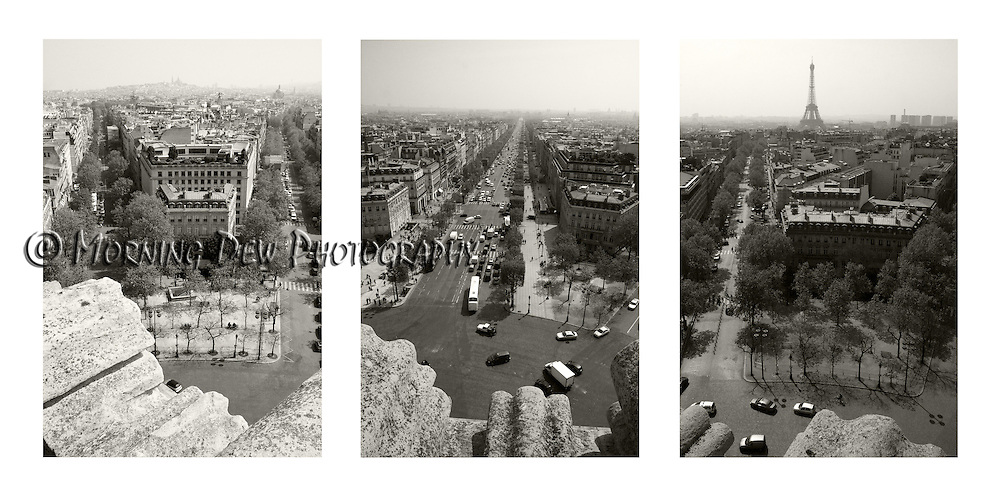 Black and white triptych of Paris from the top of the Arch D'Triomphe. Left to right: Montmartre and Sacre-Coeur, Champs-Elysees, Eiffel Tower