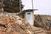 Israel, Upper Galilee, Ramot Naftali, Exterior of a public bomb shelter