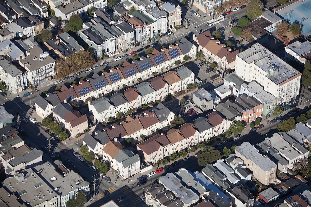 Solar panels on sustainable housing community in San Francisco, California.