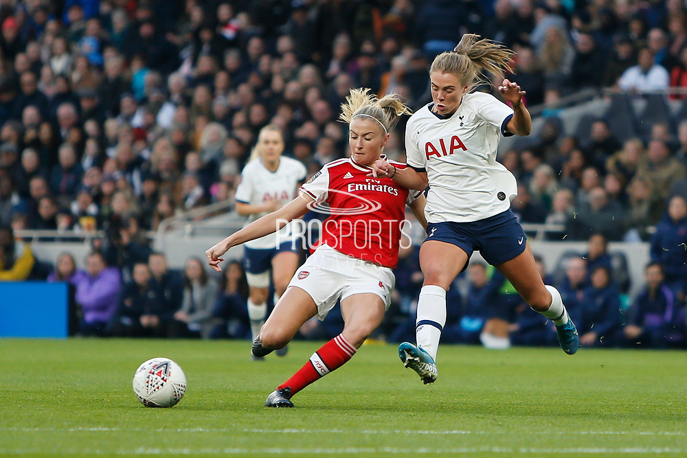 Rianna Dean and Leah Williamson tussle for the ball during the FA Women's Super League match between Tottenham Hotspur Women and Arsenal Women FC at Tottenham Hotspur Stadium, London, United Kingdom on 17 November 2019.