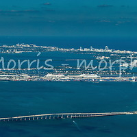 High angle aerial panorama view of Brickell and downtown Miami waterfront. This version is watermarked, contact us to license and clean version.