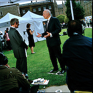 UK. London. The Village Green: From Blair to Brexit.<br /> A story on the relationship between the Media, Politicians and the public as they come together on College Green, a small patch of land next to The Houses of Parliament in Westminster. <br /> Photo shows former Conservative Party Leader Iain Duncan Smith the day Gordon Brown took over as British Prime Minister.<br /> Photo&copy;Steve Forrest/Workers' Photos