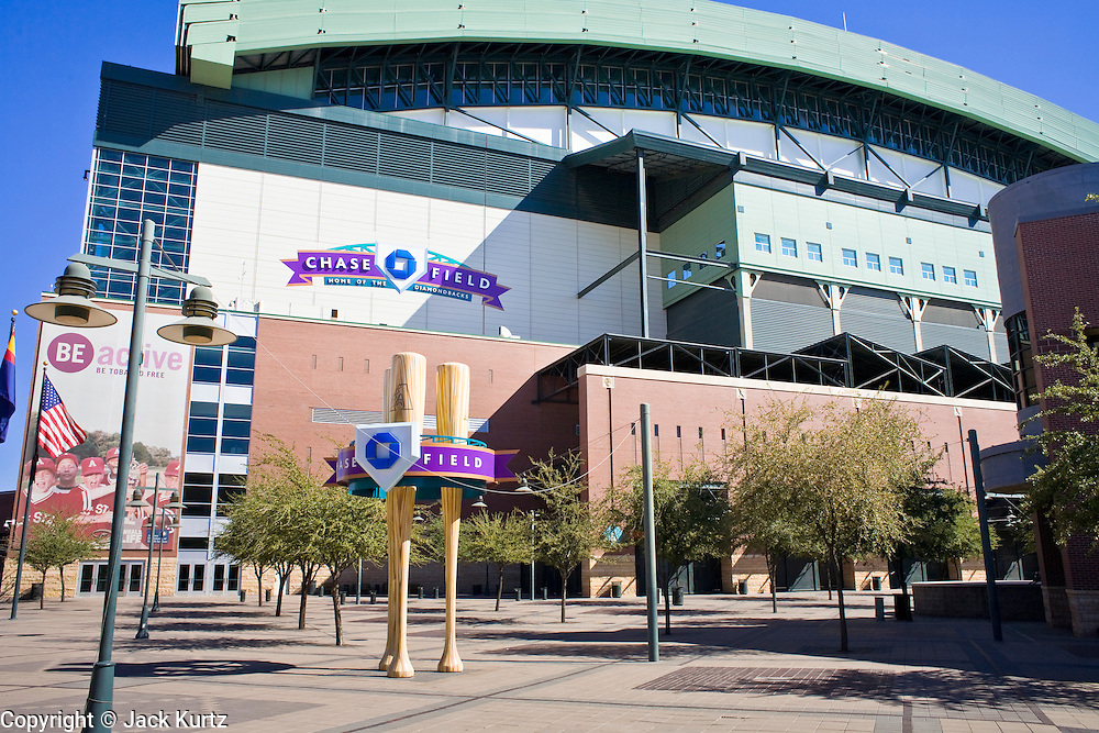 19 OCTOBER 2006 - PHOENIX, AZ: Chase Field, formerly the Bank One Ballpark, home of the Arizona Diamondbacks, in Phoenix, AZ is the host of the 2011 Major League Baseball All Star Game. The All Star Game is on July 12, 2011.    Photo by Jack Kurtz